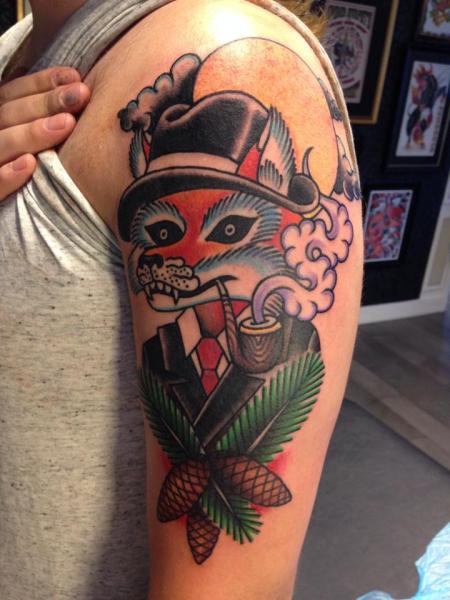 Shoulder Fantasy New School Fox Tattoo by Filip Henningsson