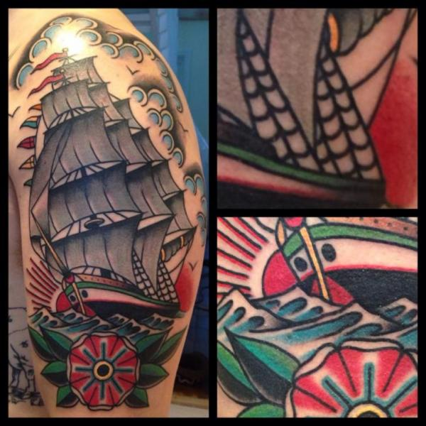 Shoulder New School Galleon Tattoo by Filip Henningsson