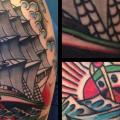 Schulter New School Galeone tattoo von Filip Henningsson
