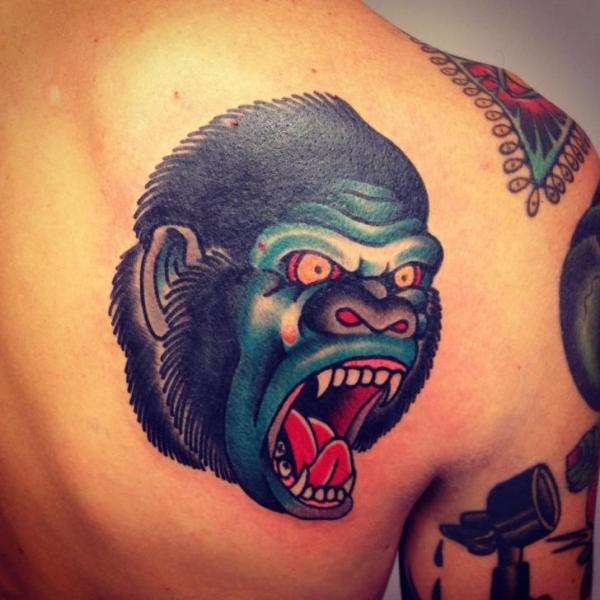 Shoulder New School Gorilla Tattoo by Filip Henningsson