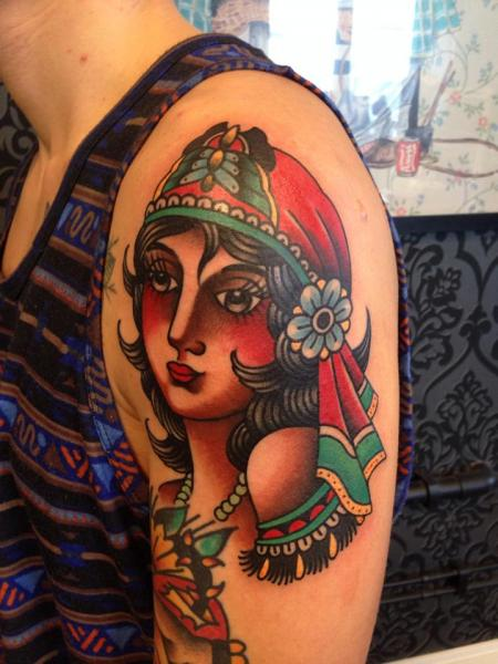 Shoulder New School Gypsy Tattoo by Filip Henningsson