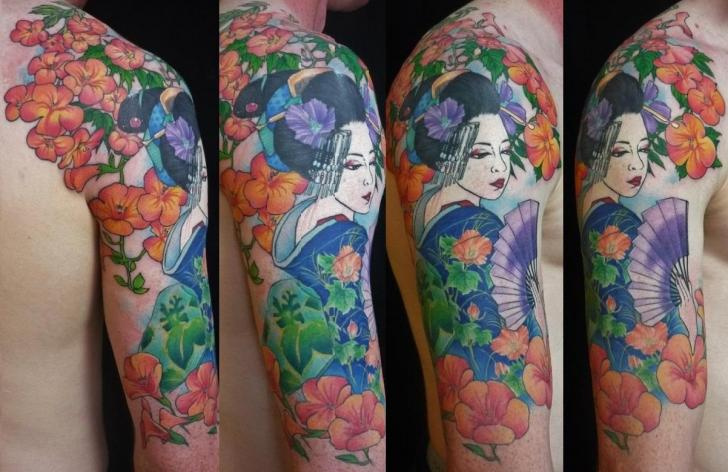 Shoulder Flower Japanese Geisha Tattoo by Chunkymaymay Tattoo