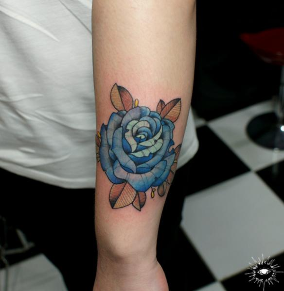 Arm Flower Rose Tattoo by Maverick Ink