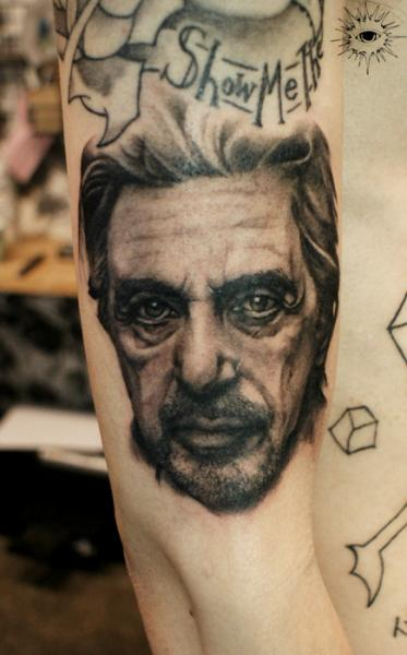 Arm Portrait Realistic Al Pacino Tattoo by Maverick Ink