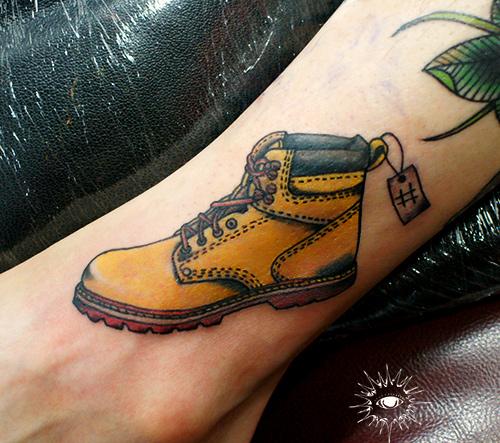 Realistic Leg Shoe Tattoo by Maverick Ink