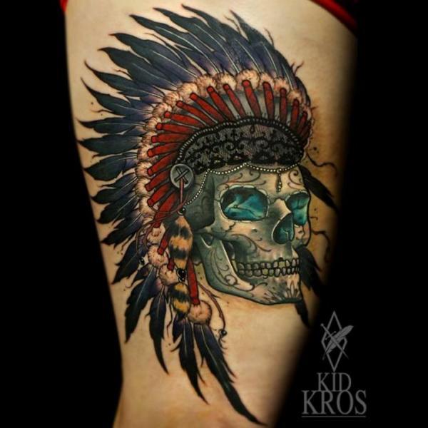 Arm Skull Indian Tattoo by Kid Kros