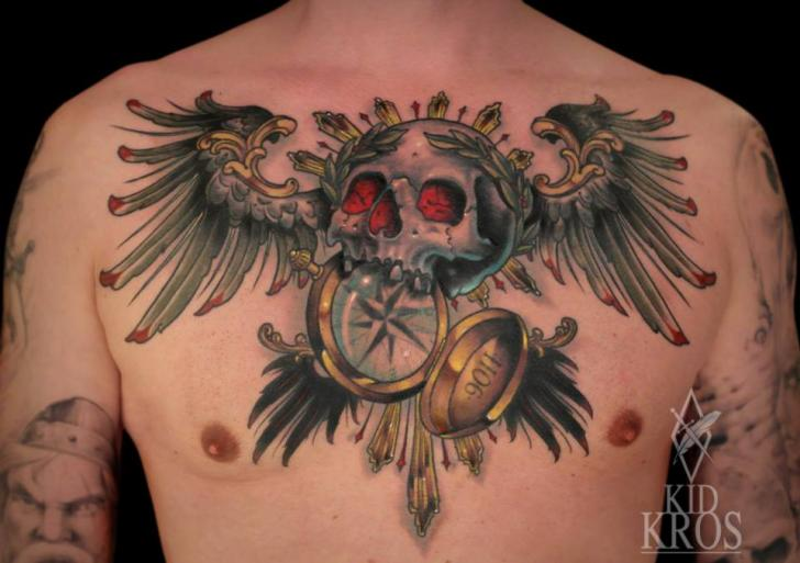 Chest Skull Wings Compass Tattoo by Kid Kros