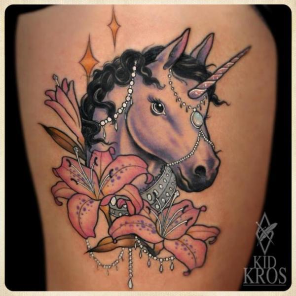 Fantasy Flower Unicorn Tattoo by Kid Kros
