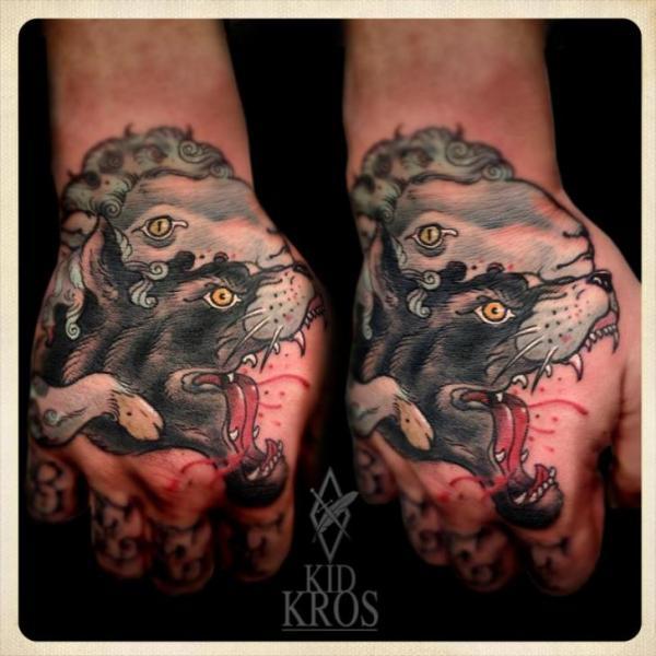 Hand Wolf Lamb Tattoo by Kid Kros