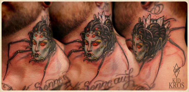 Fantasie Nacken Spinnen Tattoo von Kid Kros