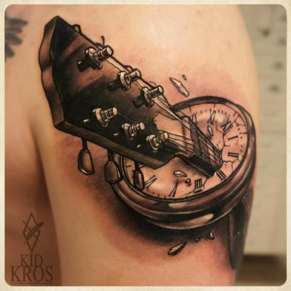 Shoulder Clock Guitar 3d Tattoo by Kid Kros