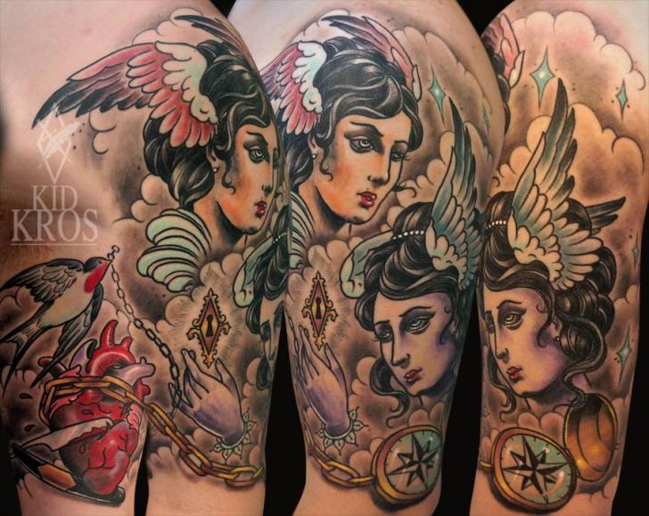 Shoulder Women Wings Tattoo by Kid Kros