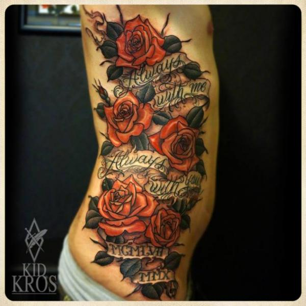 Flower Side Lettering Tattoo by Kid Kros
