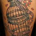 Cage Thigh tattoo by Kid Kros