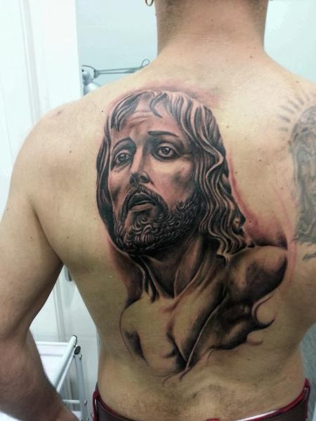 Back Jesus Religious Tattoo by Next Level Tattoo