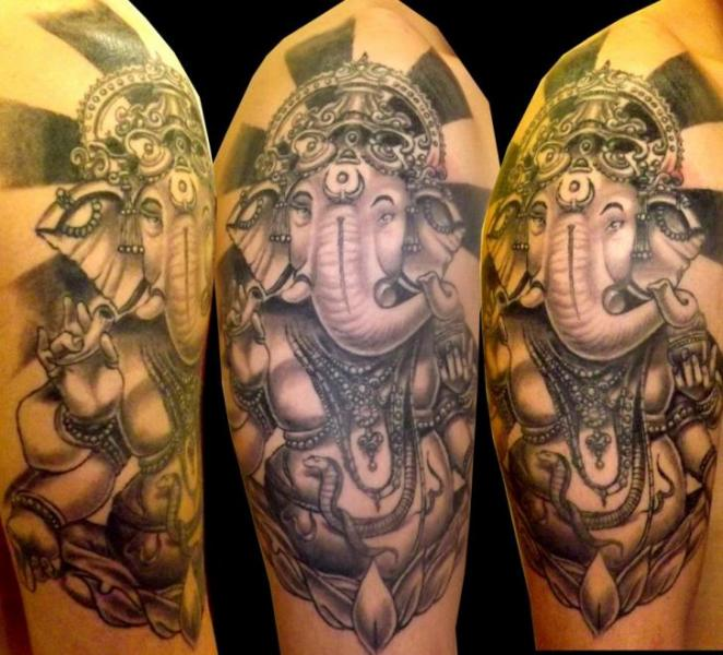 Shoulder Religious Ganesh Tattoo by Next Level Tattoo