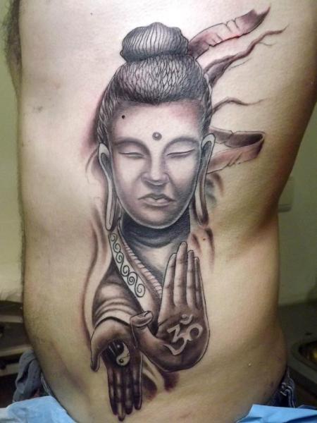 Side Buddha Religious Tattoo by Next Level Tattoo