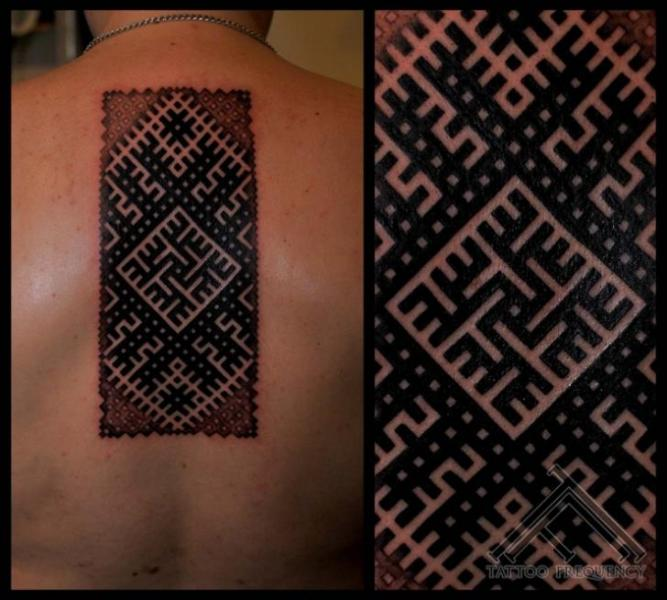 Back Geometric Abstract Tattoo by Tattoo Frequency