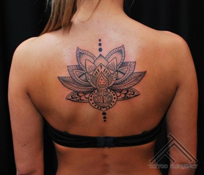 Flower Back Geometric Tattoo by Tattoo Frequency