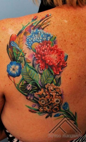 Realistic Flower Back Tattoo by Tattoo Frequency