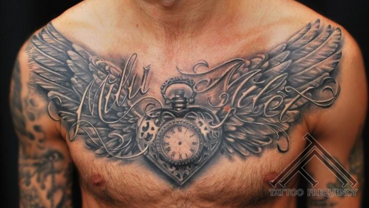 Clock Chest Heart Wings Tattoo by Tattoo Frequency
