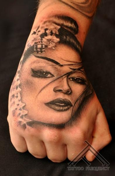 Realistic Hand Geisha Tattoo by Tattoo Frequency