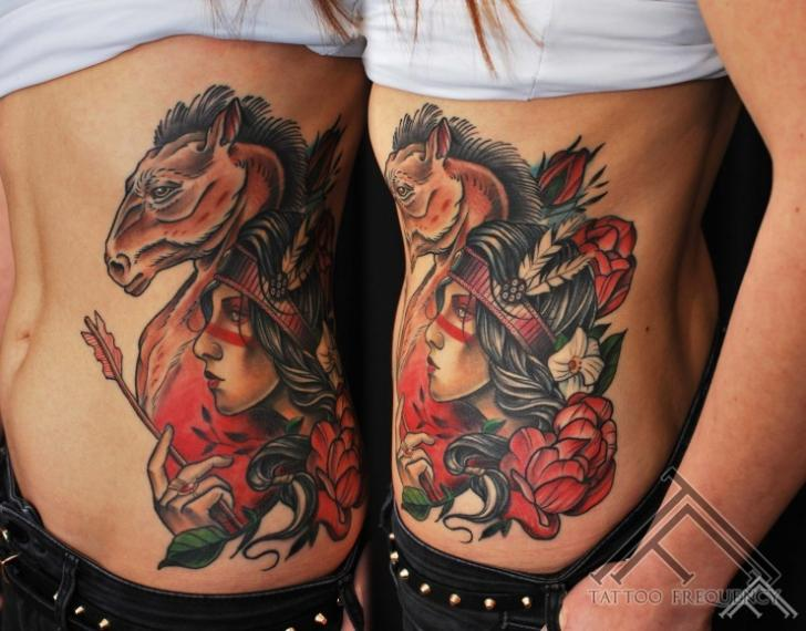New School Women Horse Tattoo by Tattoo Frequency
