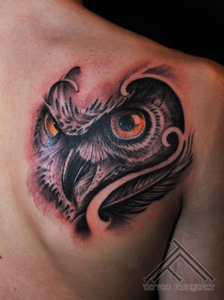 Shoulder Owl Tattoo by Tattoo Frequency