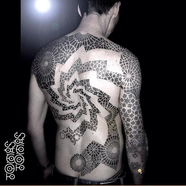 Back Dotwork Tattoo by Into You Tattoo