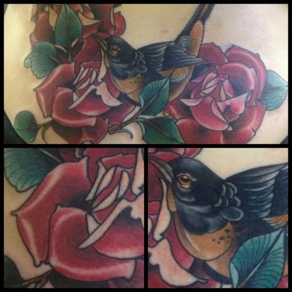Flower Bird Tattoo by Into You Tattoo
