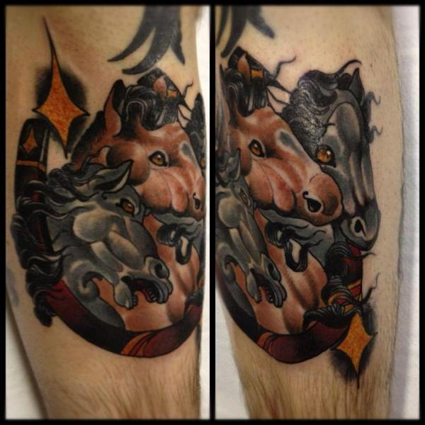 Leg Horse Tattoo by Into You Tattoo