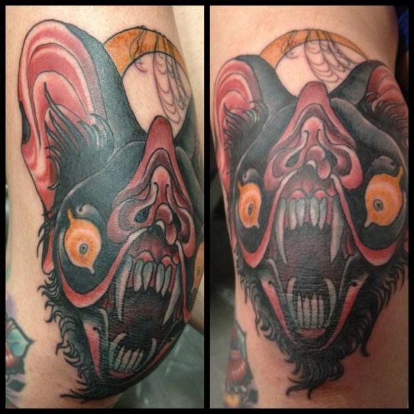 New School Leg Bat Tattoo by Into You Tattoo