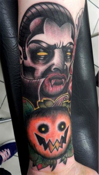 Arm New School Dracula Tattoo by Front Line Tattoo