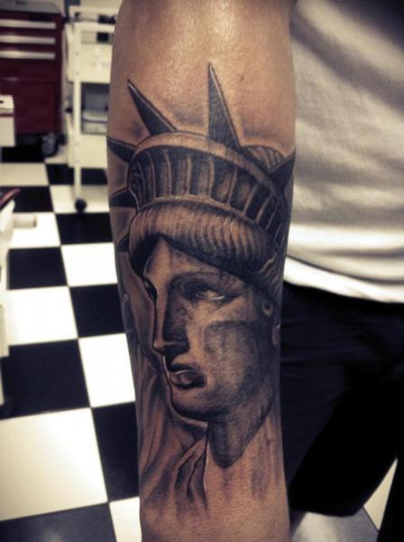 Arm Realistic Statue Liberty Tattoo by Front Line Tattoo