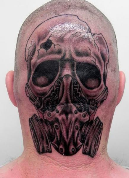 Skull Gas Head Tattoo by Front Line Tattoo