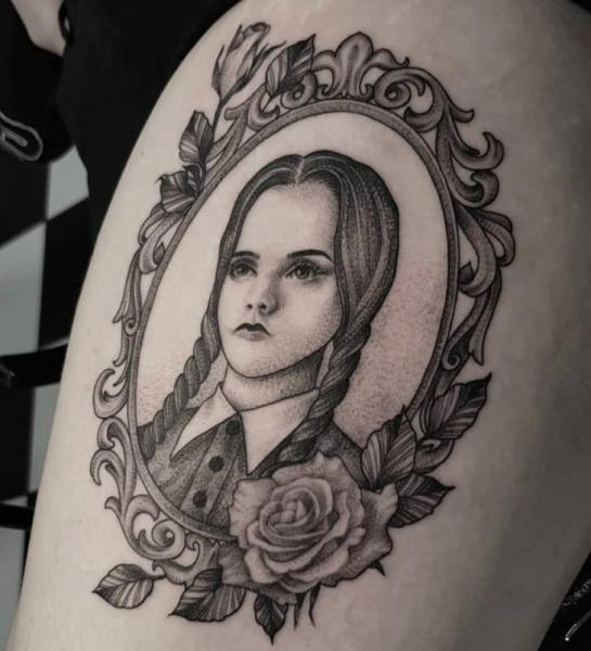 Dotwork Thigh Addams Tattoo by Front Line Tattoo