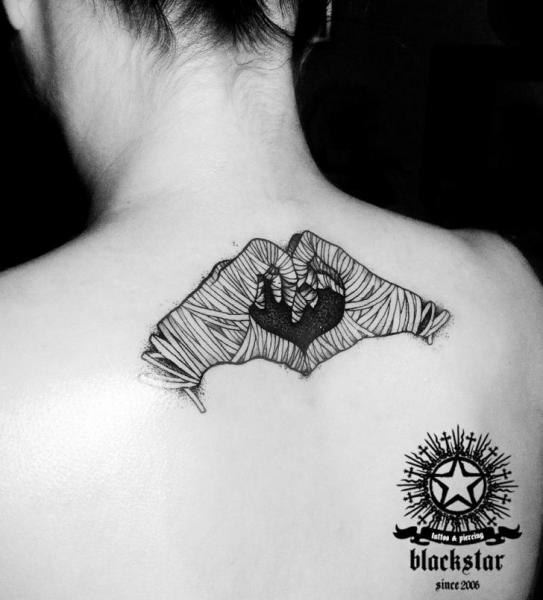 Heart Hand Back Neck Tattoo by Black Star Studio