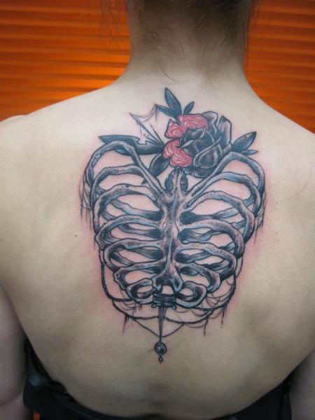 Rücken Skeleton Tattoo von Black Star Studio