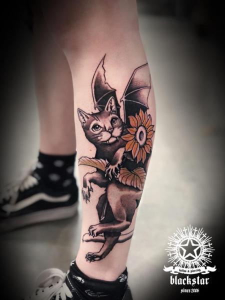 Calf Cat Bat Tattoo by Black Star Studio