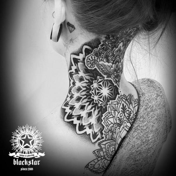 Back Neck Dotwork Mandala Tattoo by Black Star Studio