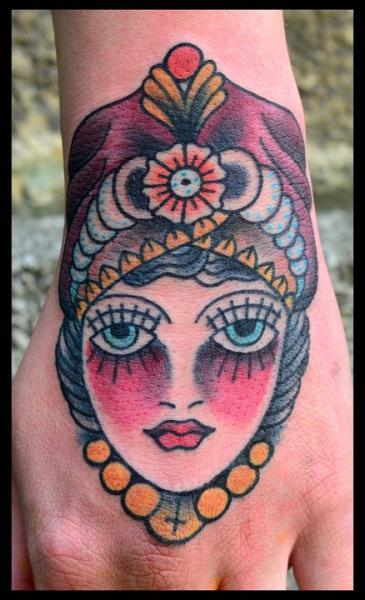 Old School Hand Gypsy Tattoo by Black Star Studio