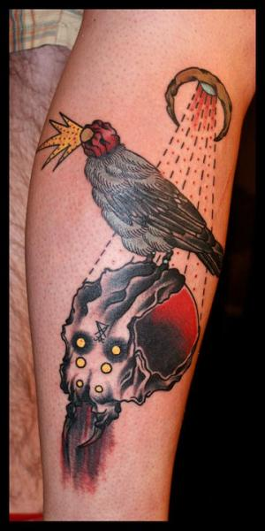 Old School Raven Tattoo by Black Star Studio