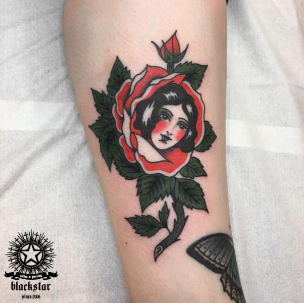 Old School Flower Tattoo by Black Star Studio