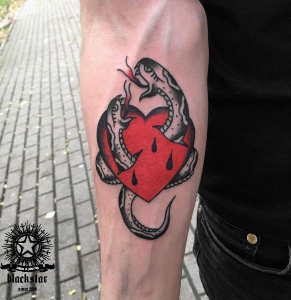 Snake Old School Heart Tattoo by Black Star Studio