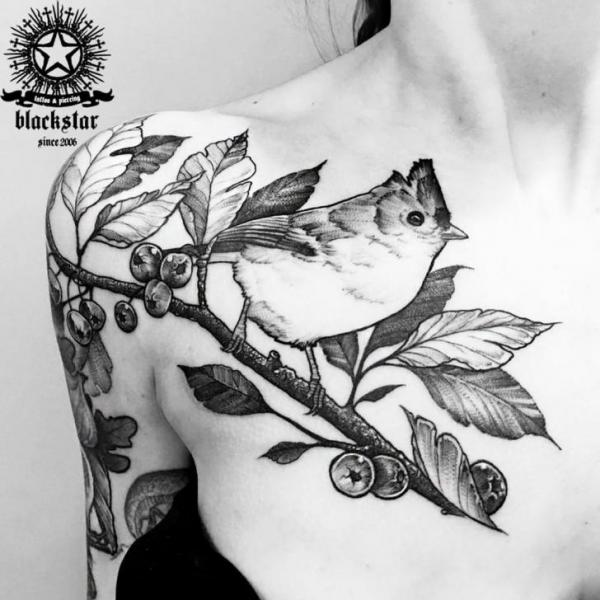 Shoulder Arm Breast Bird Tattoo by Black Star Studio