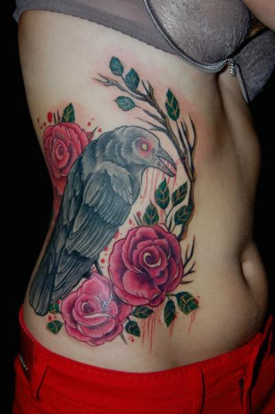 Realistic Side Raven Tattoo by Black Star Studio