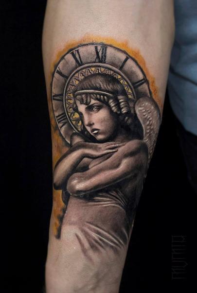 Arm Angel Religious Tattoo by Mumia Tattoo
