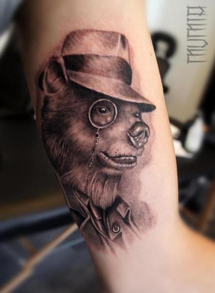 Arm Fantasy Bear Hat Tattoo by Mumia Tattoo