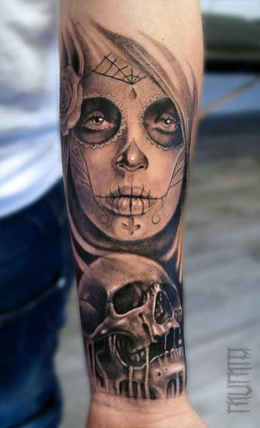 Arm Mexican Skull Tattoo by Mumia Tattoo