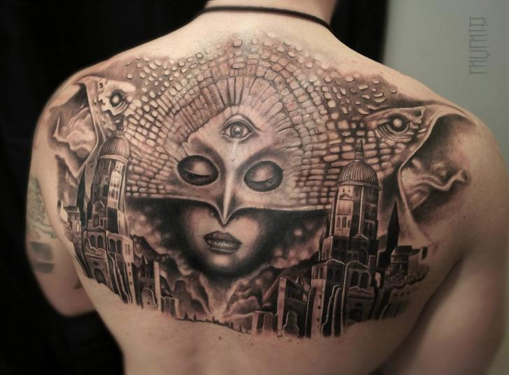 Tatuaggio Fantasy Schiena Maschera Città di Mumia Tattoo